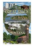 Great Falls, Montana - Montage Láminas por  Lantern Press