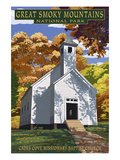 Cades Cove Baptist Church - Great Smoky Mountains National Park, TN Art by  Lantern Press