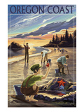 Oregon Coast - Clam Diggers Giclée-Premiumdruck von  Lantern Press