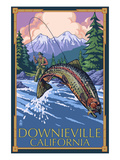 Downieville, California - Fly Fishing Affiches par  Lantern Press