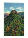 Great Smoky Mts Nat'l Park, TN - View of the Chimney Tops Prints by  Lantern Press