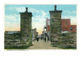 St. Augustine, Florida - View of the City Gates Posters van  Lantern Press