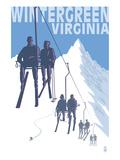 Wintergreen, Virginia - Skiers on Lift Poster by  Lantern Press
