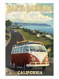 Santa Barbara, California - VW Van Scene Giclée-Premiumdruck von  Lantern Press