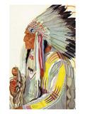 Portrait of Wades-In-The-Water, a Blackfeet Chieftain Arte por  Lantern Press