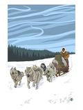 Dogsledding Scene Póster por  Lantern Press