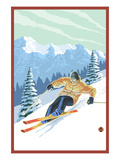 Downhill Skier Premium Giclee Print by  Lantern Press