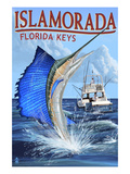 Islamorada, Florida Keys - Sailfish Scene Poster von  Lantern Press