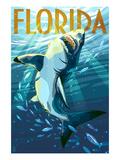 Florida - Stylized Shark Giclée-Premiumdruck von  Lantern Press