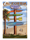 Redondo Beach, California - Destination Sign Premium gicléedruk van  Lantern Press