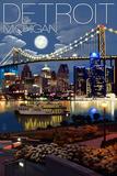 Detroit, Michigan - Skyline at Night Affiches par  Lantern Press