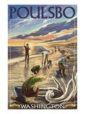Poulsbo, Washington - Clam Diggers Giclée-Premiumdruck von  Lantern Press