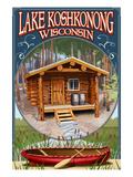 Lake Koshkonong, Wisconsin - Cabin in Woods Póster por  Lantern Press