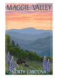 Maggie Valley, North Carolina - Bear Family and Spring Flowers Láminas por  Lantern Press