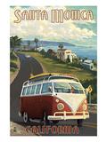 Santa Monica, California - VW Van Cruise Print by  Lantern Press