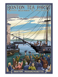 Boston, Massachusetts - Boston Tea Party Scene Premium Giclee-trykk av  Lantern Press