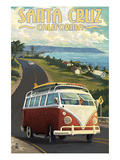 Santa Cruz, California - VW Van Art by  Lantern Press