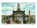 Denver, Colorado - Union Station and 17th Street Welcome Arch Poster von  Lantern Press