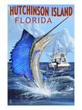 Hutchinson Island , Florida - Sailfish Fishing Scene Print by  Lantern Press