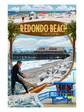 Redondo Beach, California - Montage Scenes Print by  Lantern Press