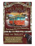 Gatlinburg, Tennessee - Trolley Art by  Lantern Press