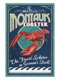 Montauk, New York - Lobster Lámina giclée prémium por  Lantern Press
