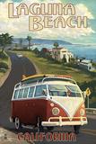Laguna Beach, California - VW Van Cruise Print by  Lantern Press