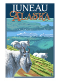 Juneau, Alaska - Goats and Cruise Ships Giclée-Premiumdruck von  Lantern Press