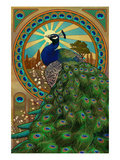 Peacock - Art Nouveau Kunstdruck von  Lantern Press