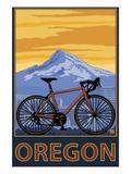 Mountain Bike and Mt. Hood - Oregon Prints by  Lantern Press