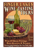 Finger Lakes, New York - Wine Tasting Láminas por  Lantern Press