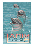Tampa, Florida - Dolphins Poster di  Lantern Press