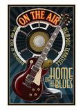 Memphis, Tennessee - Guitar and Microphone - Blue Kunstdrucke von  Lantern Press