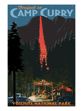Firefall and Camp Curry - Yosemite National Park, California Poster di  Lantern Press