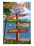 Torch Lake, Michigan - Sign Destinations Láminas por  Lantern Press