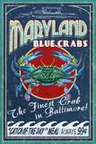 Baltimore, Maryland, cangrejos azules Láminas por  Lantern Press