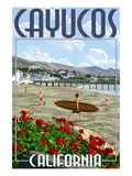 Cayucos, California - Beach and Pier Scene Prints by  Lantern Press