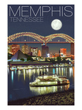 Memphis, Tennessee - Memphis Skyline at Night Kunstdrucke von  Lantern Press
