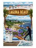 Laguna Beach, California - Montage Scenes Prints by  Lantern Press