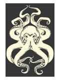 Black and White Octopus Giclée-Premiumdruck von  Lantern Press