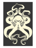 Black and White Octopus Lámina giclée prémium por  Lantern Press
