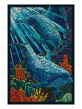 Dolphin - Paper Mosaic Giclée-Premiumdruck von  Lantern Press