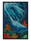 Dolphin - Paper Mosaic Láminas por  Lantern Press