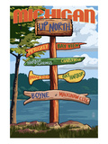 Up North, Michigan - Sign Destinations Print van  Lantern Press