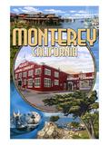 Monterey, California - Montage Scenes Giclée-Premiumdruck von  Lantern Press