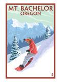 Mt. Bachelor, Oregon - Snowboarder Scene Prints by  Lantern Press