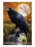Raven and Moon - Savannah, GA Affiches par  Lantern Press