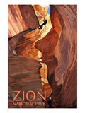 Zion National Park - Canyoneering Scene Poster von  Lantern Press