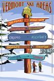 Vermont - Ski Areas Sign Destinations Art par  Lantern Press