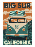 Big Sur, California - VW Van Blockprint Kunst af  Lantern Press